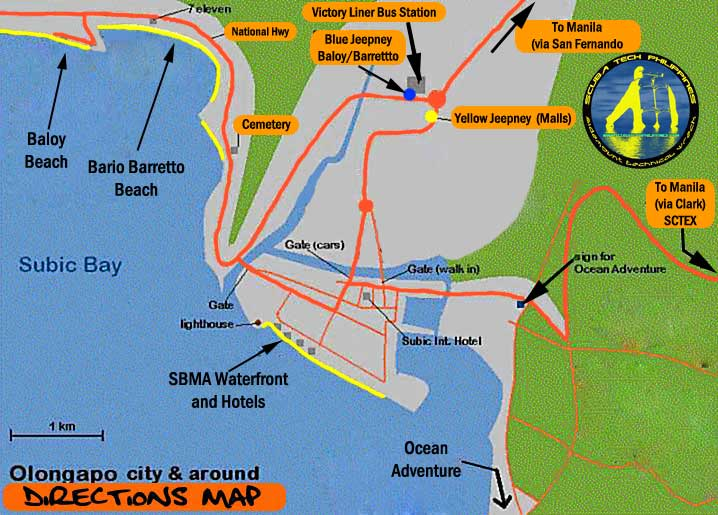 Olongapo-Barretto Baloy Subic Bay Travel Map