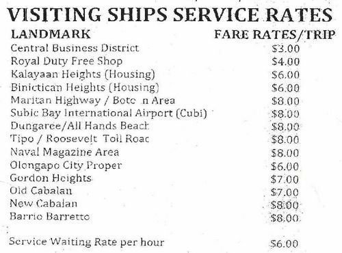 US Navy Taxi Rates outside SBMA Subic Philippines