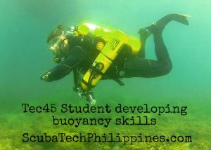 Air consumption lowered by good diving buoyancy control